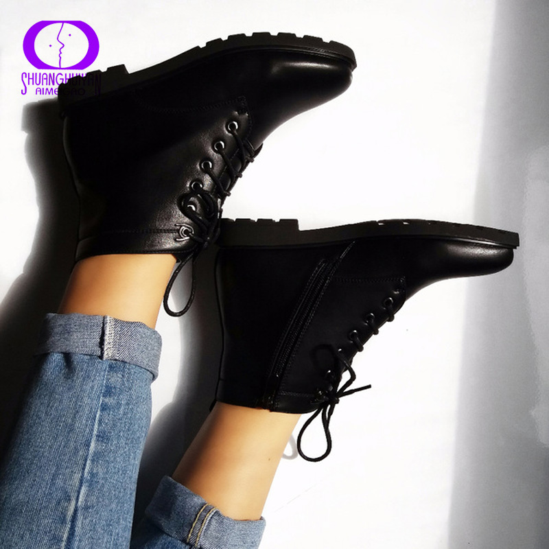 High Quality Plus Size Fashion Women Boots Round Toe PU Leather Warm Lace-up Black Ankle Women Boots Shoes Sapato Feminino high quality full grain leather and pu mixed colors boots size 40 41 42 43 44 zipper design lace up decoration round toe boots