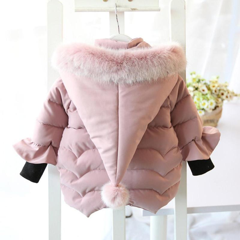 Lovely baby girls jacket Winter Thick hoodies jacket for girl age 2-6 warm outerwear & coats Princess girls clothing outfits R4 2017 2 4 yrs children clothing winter warm coats for girl baby white duck down jacket pants suits thick kids outerwear windproof