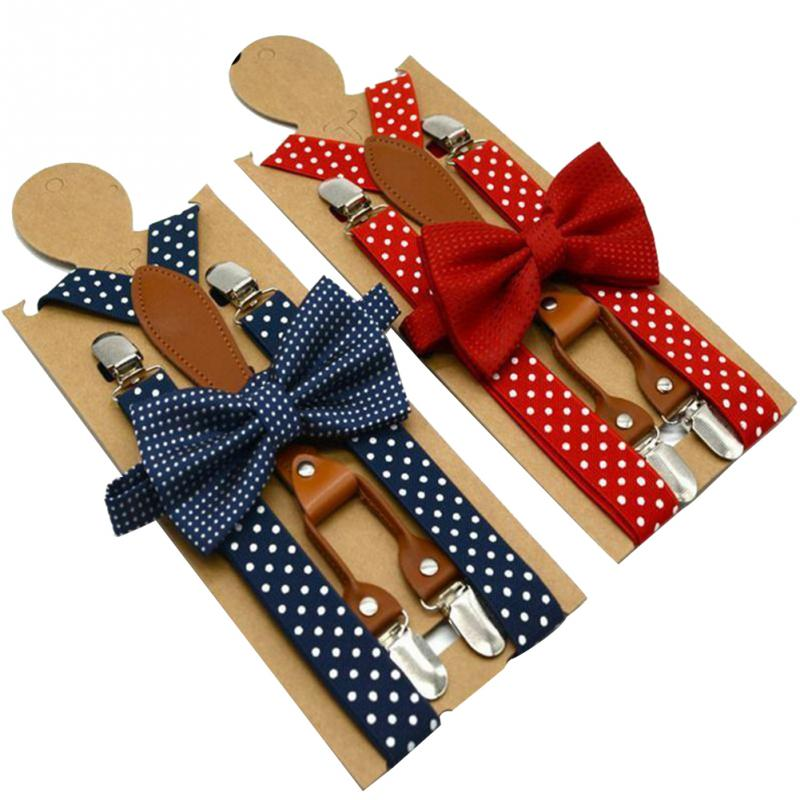 Women Men Suspender For Trousers Adjustable 4 Clip Alloy Button Navy Red Braces Elastic Bow Tie Polka Dot For Party Wedding Wear
