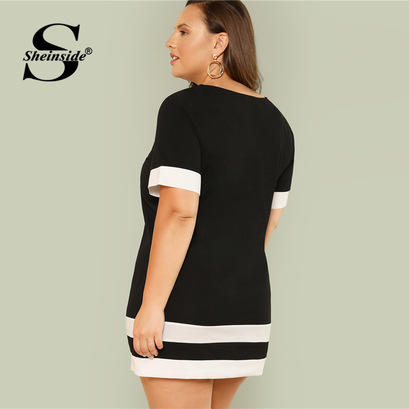 Sheinside Striped Black And White Plus Size Casual Dress Women Round
