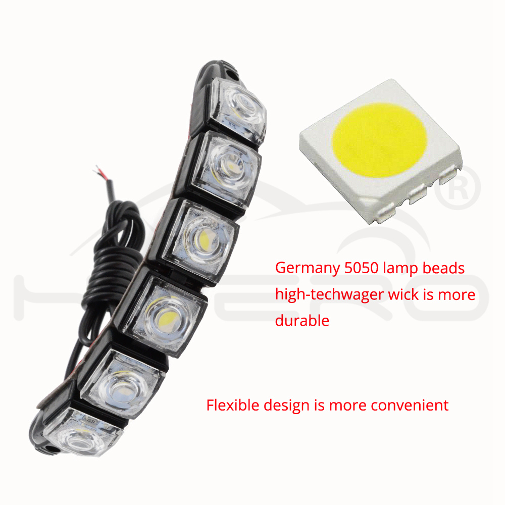 Купить с кэшбэком Auto Led  Flexible Silicone Led Daytime Running Light 6LED with Lens DC 12V White Head Lamp Headlight Parking Fog Lights