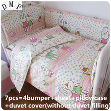 Promotion! 6PCS cot bedding set baby bedding set (bumpers+sheet+pillow cover)