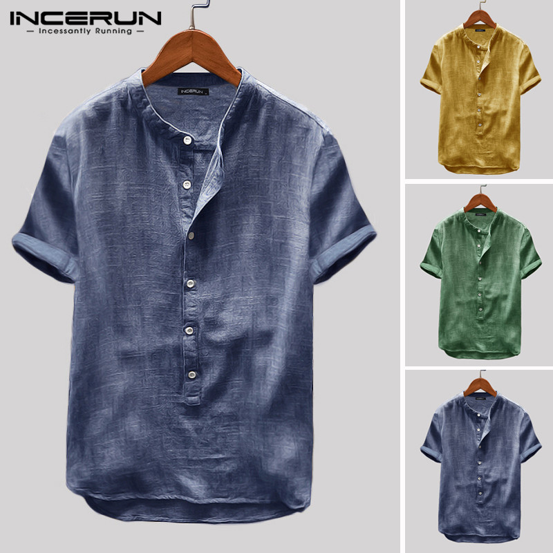 INCERUN Summer Mens Shirt Short Sleeve Solid Color Breathable Tops Casual Vintage Shirts Street Camisa Masculina Harajuku S-5XL
