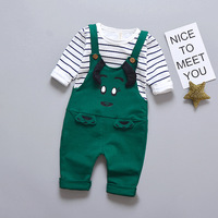 Baby Boys Sets Stripe T Shirt Top Bib Cartoon Cattle Pants Overall Outfits Newborn Cloth Roupa