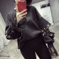 [CHICEVER] 2017 Autumn Rivets O-neck Split Patchwork Lace Long Sleeve Casual Pullovers Loose Women Sweatshirt New