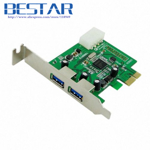 2 Port Super speed USB 3.0 PCI-E Express Interface Card adapter for PC with bracket