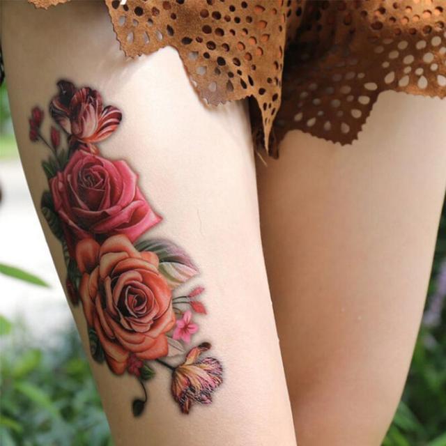 Women Sexy Waterproof Tattoo Sticker Cover Scar Rose Pattern Body