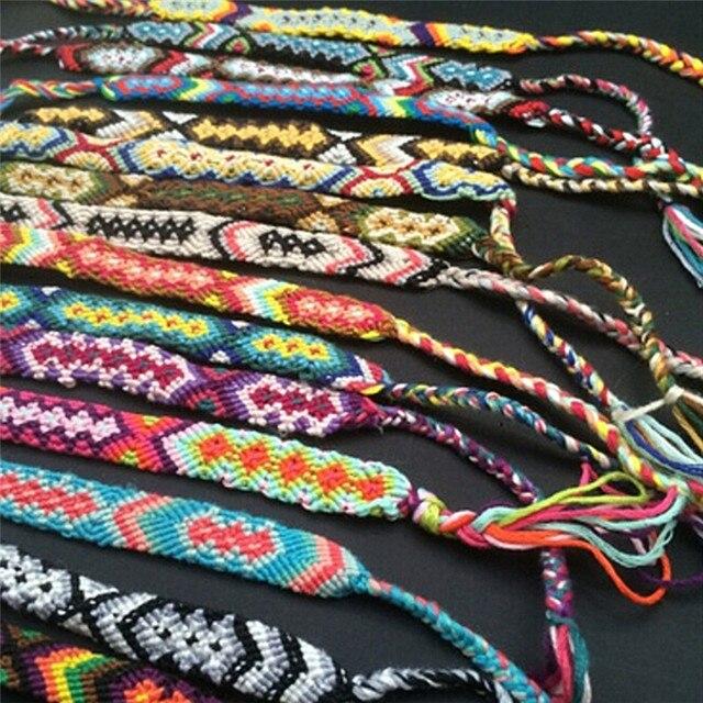 58e97fef08bb € 1.18 16% de DESCUENTO Pulsera hecha a mano Custom tibetano algodón abrigo  popular tejida cuerda pulseras de la amistad para las mujeres hombres ...
