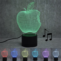 New Arrival Bluetooth Stereo Colorful 3D Optical Illusion Home Decor LED Table Lamp Wholesale Free Shipping 4RB28