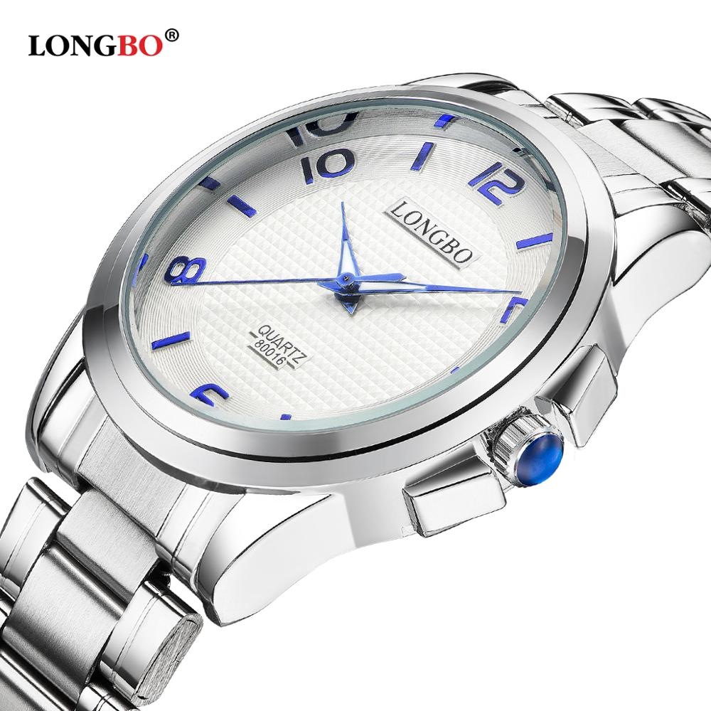 LONGBO Brand Quartz Watches Dial Military Men Stainless Steel Band Sports Clock For Men Male Watch Relogio Masculino 80016 mens stainless steel band watch with big round dial male analog quartz metal sports wristwatch relogio masculino montre homme