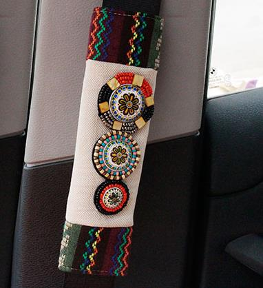 New Arrival Flax Bohemian National Style Car Seat Belt Pad Lady Gift Auto Safety Belt Protection 1 PC Interior Accessories