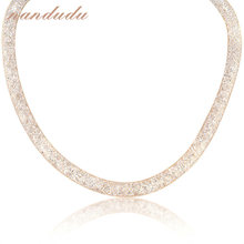 Nandudu Tubo de Malla Stardust Collar O Pulsera de Doble Envoltura de Cristal Regalo de la Joyería de Oro Amarillo Plateado N373