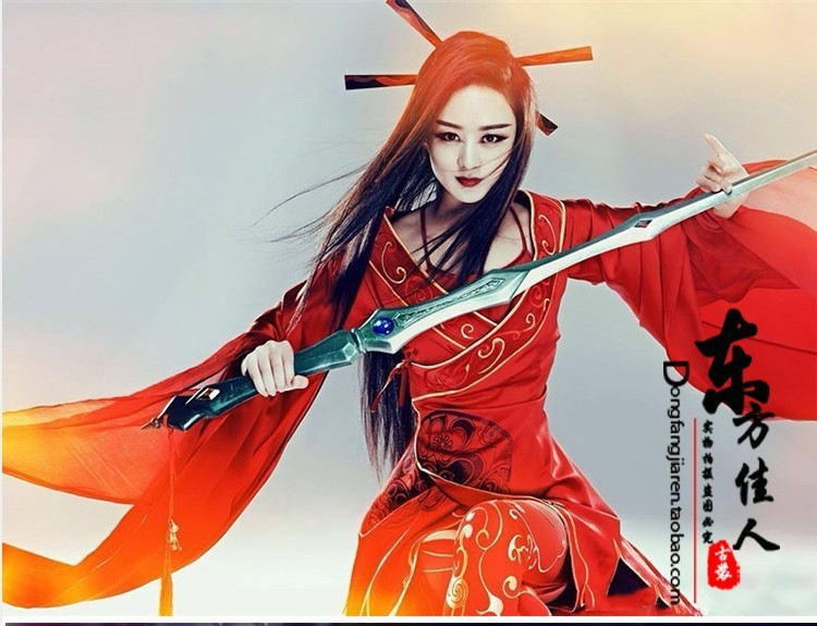 Latest TV Play Hua Qian'Gu Actress Zhao LiYin Same Design Red Photography Costume Computer Game Cosplay Evil Goddess Costume