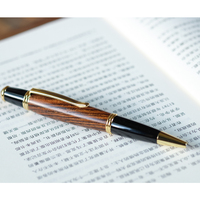 1pc Luxury Metal Wood Retractable Ballpoint Pen Gold Clip Red Brown Black Business Office Gift Pens 0.5mm Black Ink Ball Pen