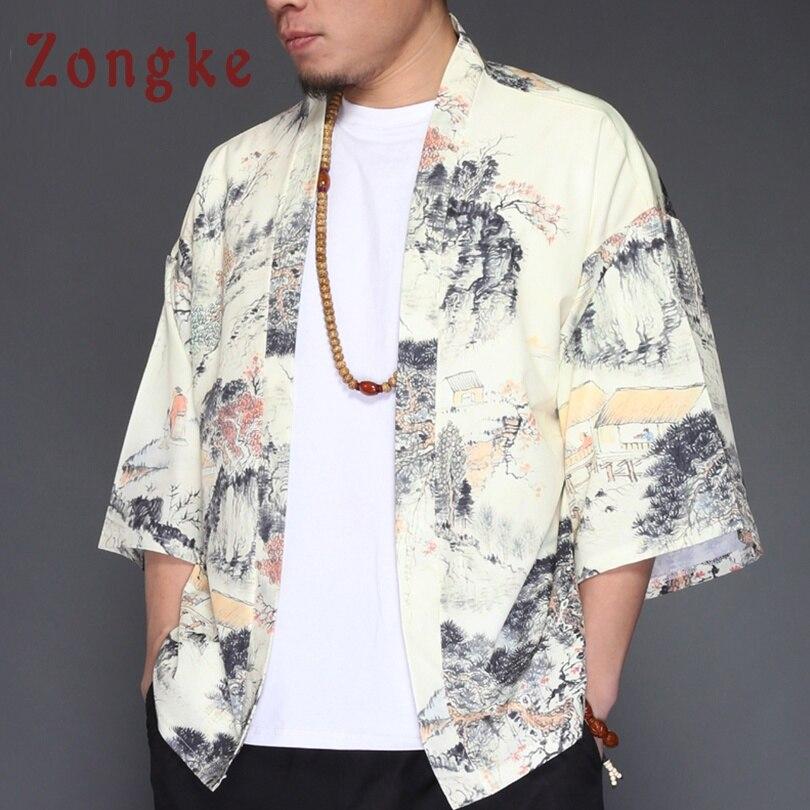 Zongke Chinese Style Kimono Cardigan Men White Long Kimono Cardigan Men Landscape Print Men Kimono Robe Thin Jacket Coat 2018