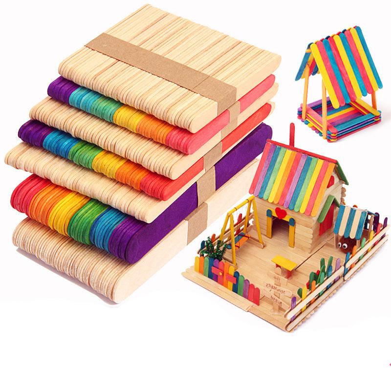 50pcs Colored Wood Craft Sticks Wooden Ice Cream Sticks Kids DIY Hand Crafts Lolly Cake Tools YH-17