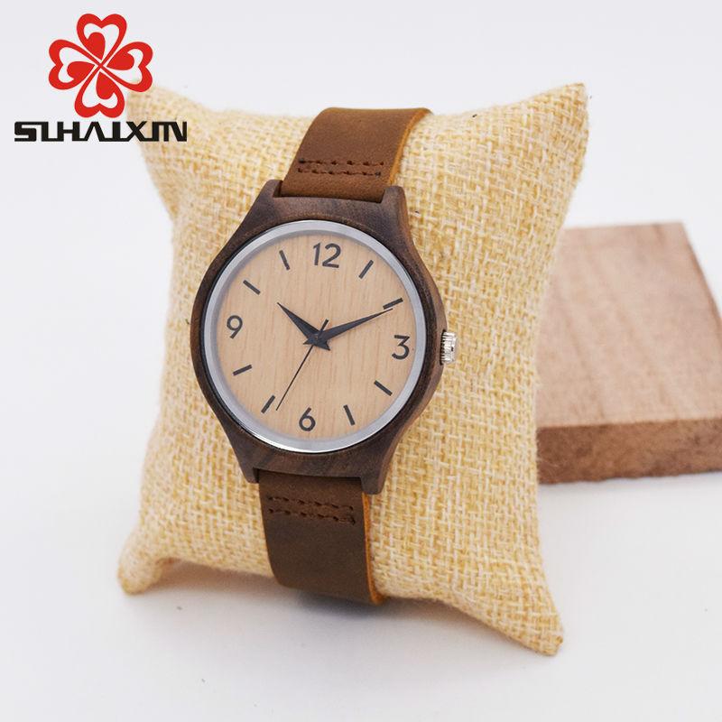 SIHAIXIN Reloj de mujer de madera de bambú minimalista de primeras marcas de lujo de cuero de cuarzo reloj de madera mujer dama barata con envío gratis