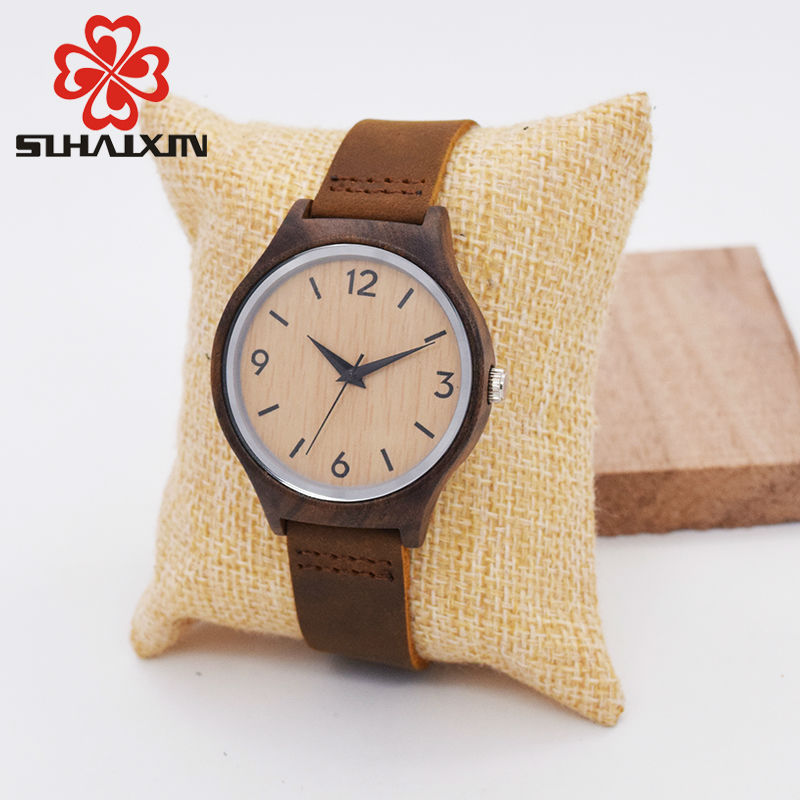 SIHAIXIN Minimalist Bamboo Wood Woman Watch Top Brand Luxury Leather Quartz Wood