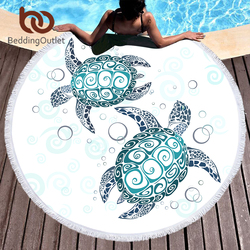 BeddingOutlet Turtles Round Beach Towel for Adults Tortoise Microfiber Large Bath Towel with Tassel Marine Animal Yoga Mat 150cm
