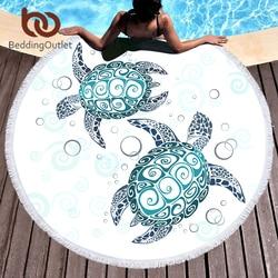 BeddingOutlet Turtles Round Beach Towel for Adults Tortoise Microfiber Large Bath Towel with Tassel Marine Animal Yoga Mat 150cm