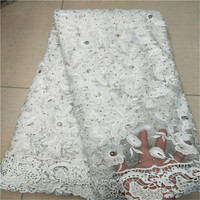 2018 New Design Nigerian Lace Fabrics Net Rhinestone African Lace Fabric White Guipure French Tulle Lace