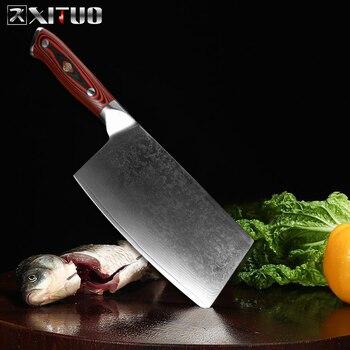 Xituo 다마스커스 강철 중국 부엌 칼 요리사 칼 직업적인 예리한 cleaver 채우는 knivse 고급 자두 리벳 g10 손잡이