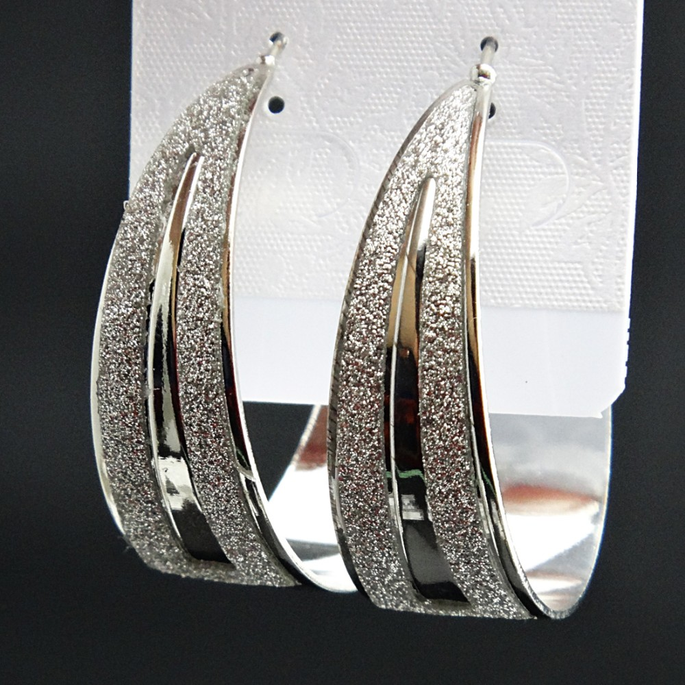 New Arrival Fashion Hot Sale Big Silver Plated Frosted Hoop Earrings for Womens Wedding Bridal Party Jewelry A2228 in Hoop Earrings from Jewelry Accessories