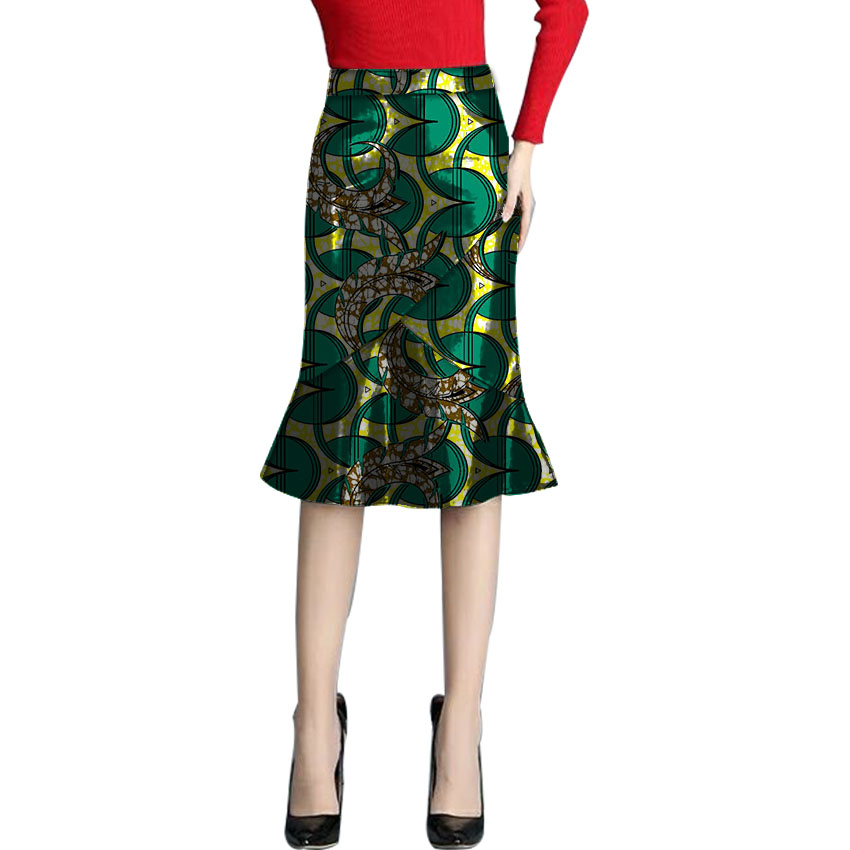 Tailored custom fashion african Inequable design fishtail skirt women fashion skirts ladies dashiki element africa clothing