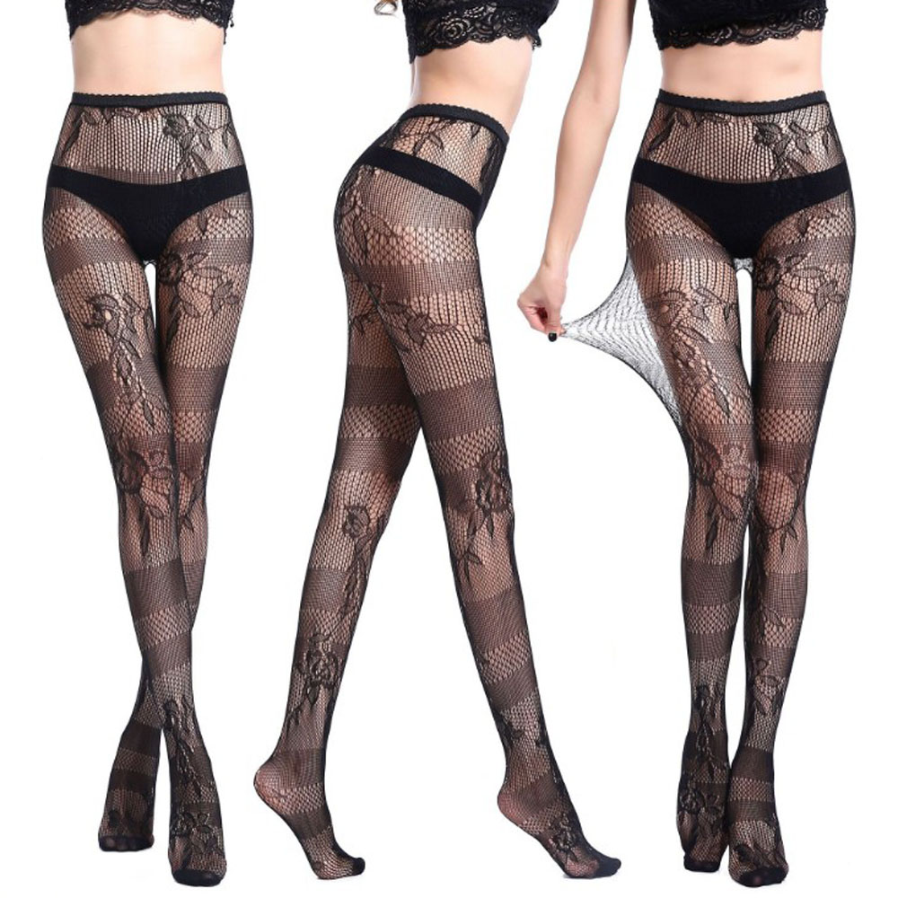 b62b23a960f 1PC New Sexy Women Black Lace Top Mesh Thigh-Highs Open Crotch Leggings  Garter Belt Stockings Fashion Styles