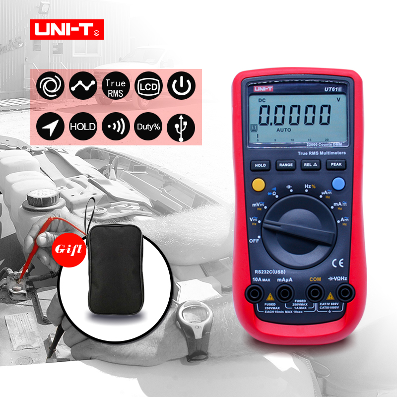 UNI-T Digital Multimeter UT61E True RMS PC Connect 22000 Counts Data Hold Portable AC DC Voltage Meter with Bag Gift uni t ut61e 22000 counts true rms digital multimeter ac dc voltage current resistance capacitance tester with rs232c cable