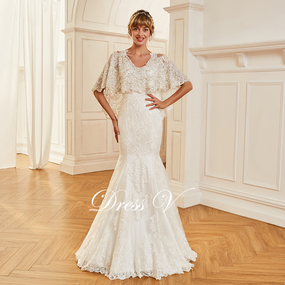 f352630e34 US $260.63 |Dressv appliques elegant v neck wedding dress half sleeves  floor length button bridal outdoor&church trumpet wedding dresses-in  Wedding ...
