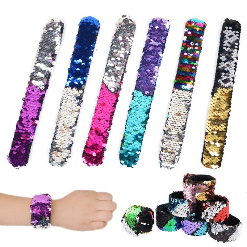 LNRRABC Fashion Bracelet Reversible Sequins Festival Kids Gift Creative Popualr Bangle New Clap Ring Christmas Paillette
