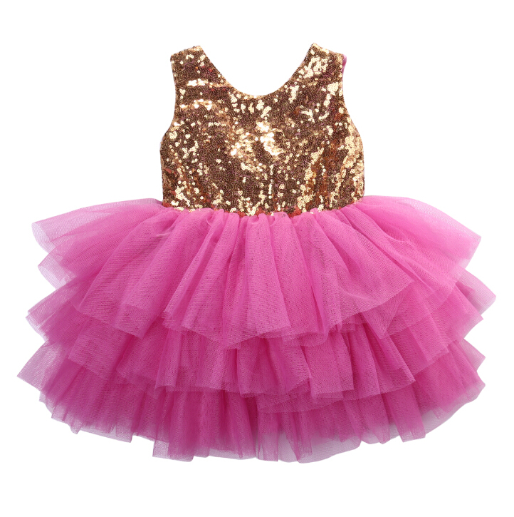 Ruffles Formal Pageant Layered Tulle Party Dress Sequin Toddler Infant Kids Girls Clothes Princess Dresses 2-7Y girls dress ruffles tulle tiered dress sequin party birthday princess 2016 summer wedding dresses kids clothes size 4 12 pageant