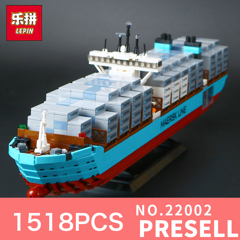 1518Pcs Lepin 22002 Technic Series The Maersk Cargo Container Ship Set 10241 Building Blocks Bricks Educational Toys lepin 22002 1518pcs the maersk cargo container ship set educational building blocks bricks model toys compatible legoed 10241