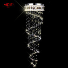 Contemporary chandelier crystal lighting penthouse stairwell hanging wire crystal lamp villa spiral staircase Dia500xH1800mm