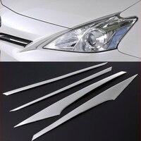 4pcs sus304 스테인레스 스틸 헤드 램프 사이드 트림 자동차 스타일링 액세서리 커버 도요타 프리우스 알파 v zvw40