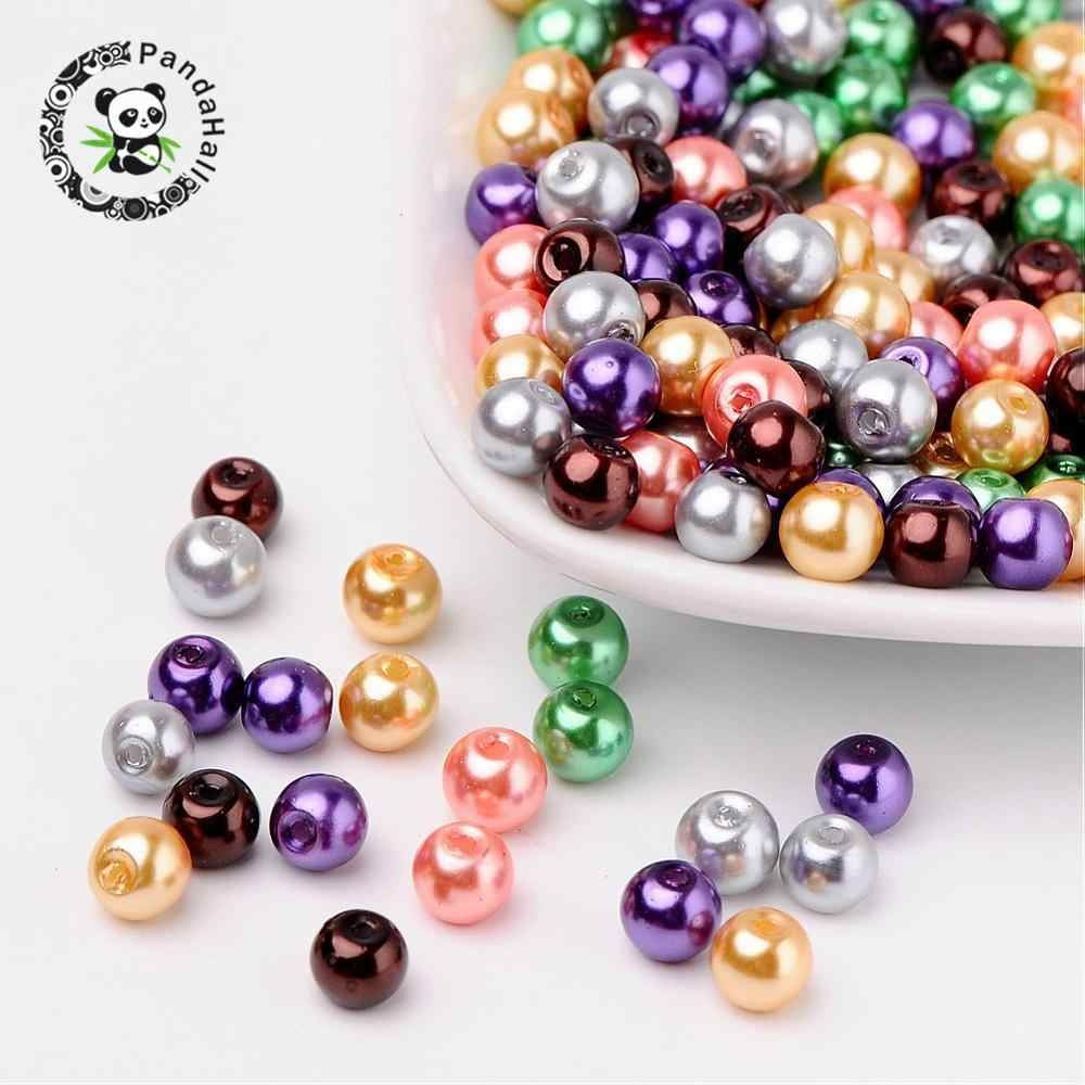 Pandahall 4/6/8mm Glass Pearl Beads Mixed Color Pearlized Beads Round For Jewelry Making DIY Bracelets Hole: 1mm Free Shipping