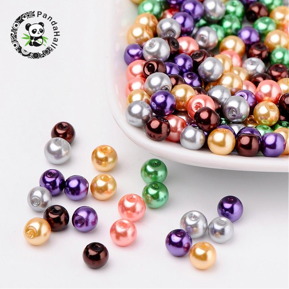 Pandahall 4/6/8mm Glass Pearl Beads Round Mixed Color Pearlized Beads For Jewelry Making DIY Bracelet Earrings Findings Hole 1mm(China)