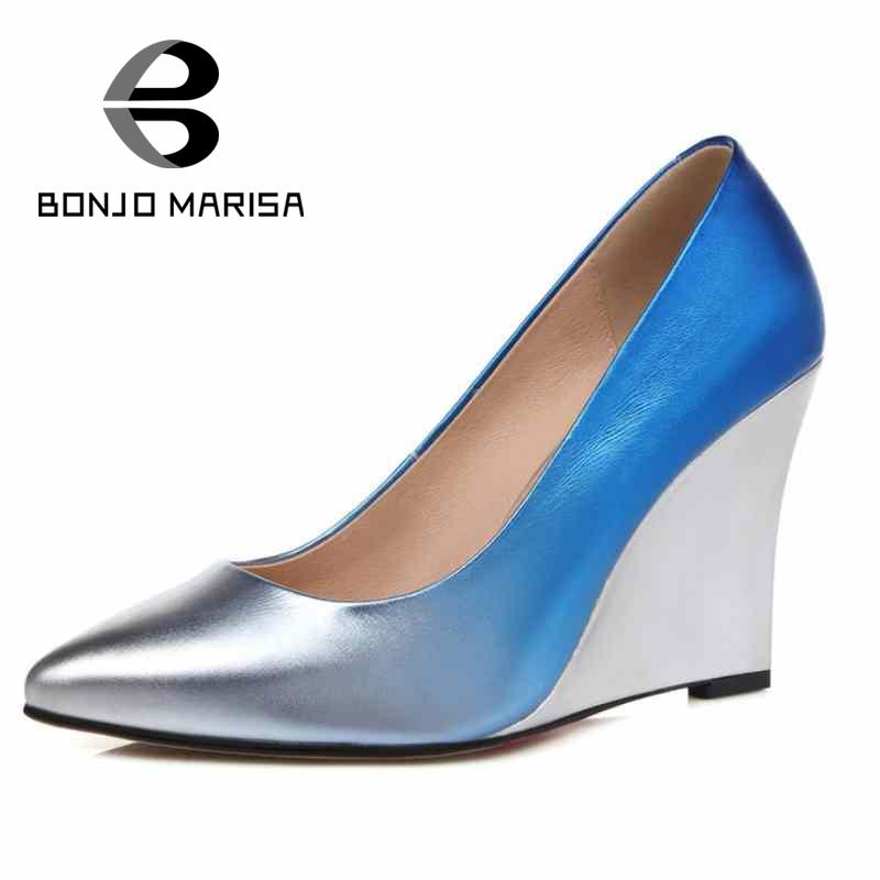 ФОТО Hot Sale Solid Pointed Toe Slip On Geunine Leather Wedges High Heels Women's Shoes Fashion Less Platform Plain Girls Party Pumps