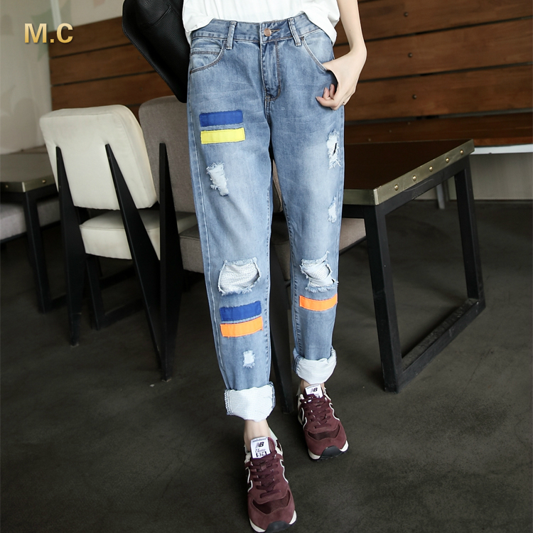 Casual jeans demin high waist straight pants for women full length cotton blend plus size patchwork