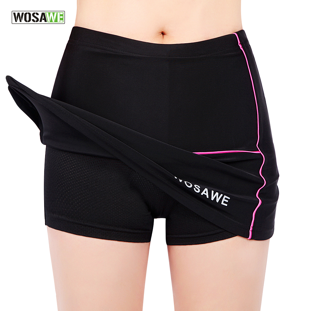 WOSAWE Womens Girls Cycling Bike Bicycle Mini Skirt Pleated Skirt Shorts Pants Gel pad Black dabuwawa autumn women fashion sexy plaid skirt elegant mini pleated skirt short streetwear asymmetrical skirt d17csk031 page 1