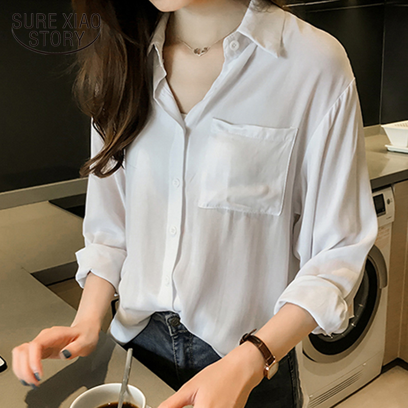 Plus size women tops Fashion woman   blouses   2019 spring new office work wear white   blouse     shirt   long sleeve women   shirts   2071 50