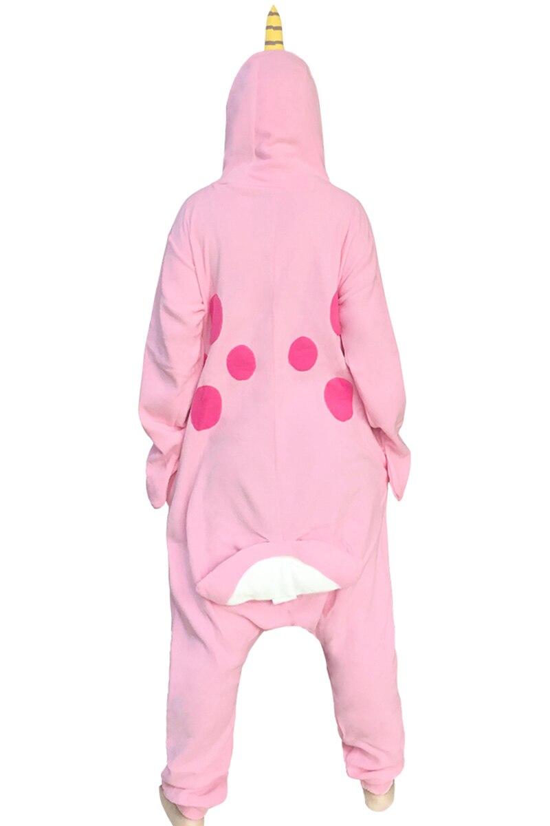 Новый для взрослых животных Footed Нарвал Комбинезоны китообразных пижамы Для женщин животного пижамы костюмы Домашняя одежда залов флис уни...