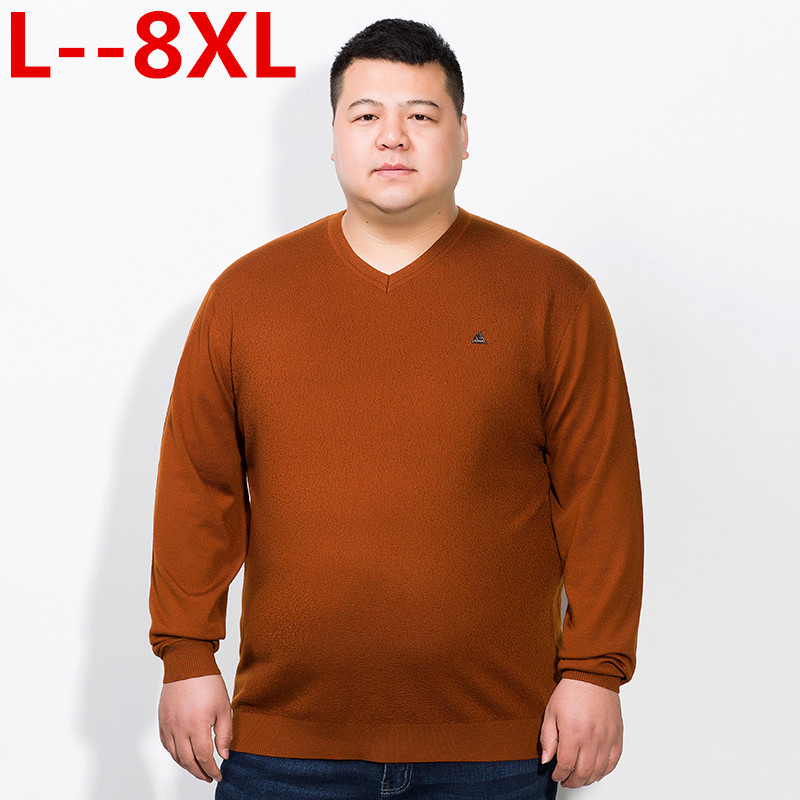 10XL 8XL 6XL 5XL 4XL Male 2018 Men'S Fashion Mixed Colors Sweater Men Leisure Loose Pull Homme V-Neck Long-Sleeved Sweater Solid