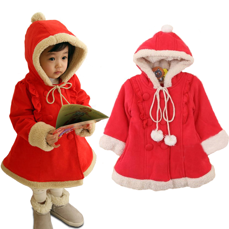2 7Y Red Winter Baby Girl Clothes Cute Hairy Warm -1193