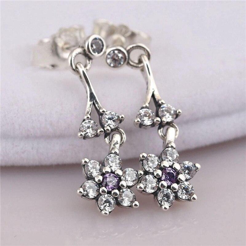 New Fashion 925 Sterling Silver Branded Earrings For Women Purple Forget Me Not CZ Dangle Earrings Fine Branded Jewelry Original in Drop Earrings from Jewelry Accessories