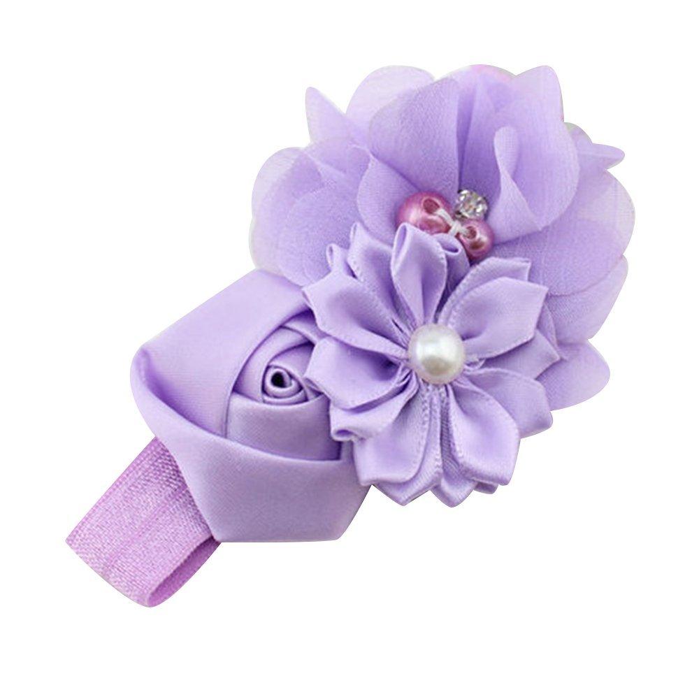 2017 NEW Girl Headband Chiffon Headdress Faux Pearl Hairband (Light Purple)