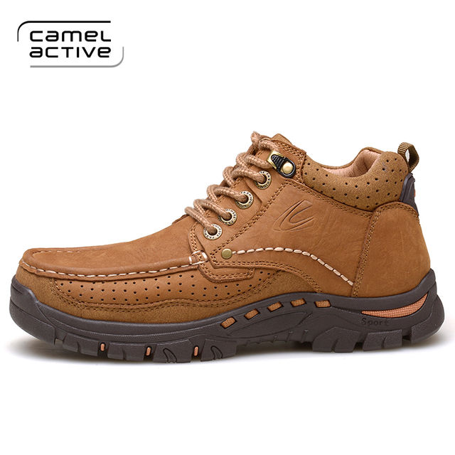 Camel Active Winter Plush Warm Genuine Leather Outdoor Sport Tactical Men  Hiking Shoes Waterproof Sneaker Climbing