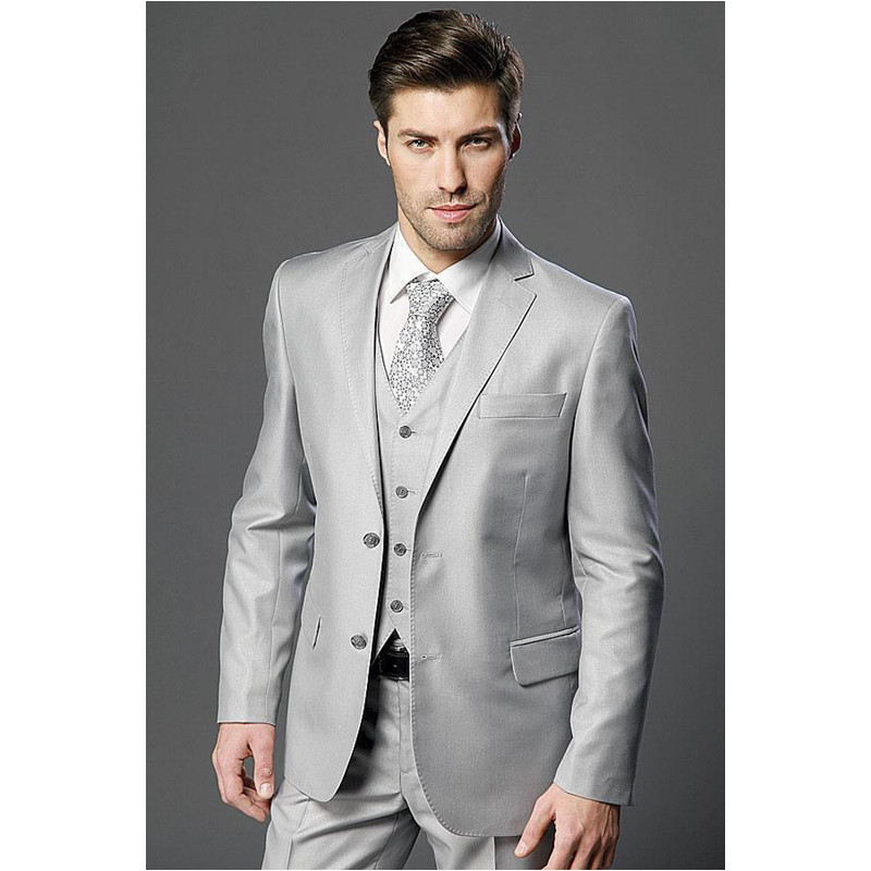 New New Arrivals Two Buttons Light Grey Groom Tuxedos Notch Lapel Groomsmen Best Man Wedding Prom Suits (jacket+pants+vest)
