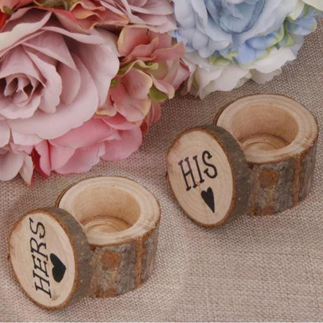 1set 2 Pcs New Wooden Wedding Ring Box Creative His Her Logo